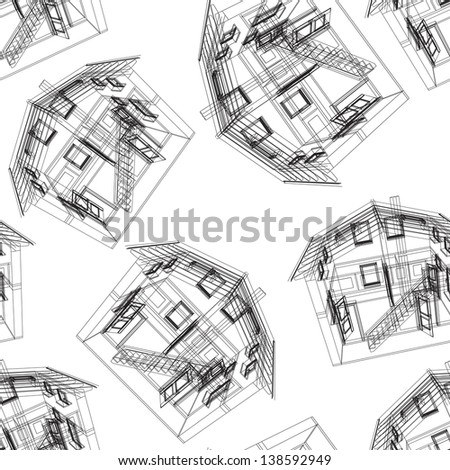 Seamless house pattern. Vector illustration.