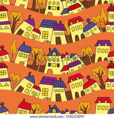 seamless houses and trees in autumn  - stock vector
