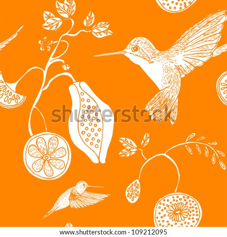 Seamless hummingbird and exotic fruit pattern - stock vector