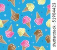 seamless ice cream pattern swatch with clipping mask - stock vector