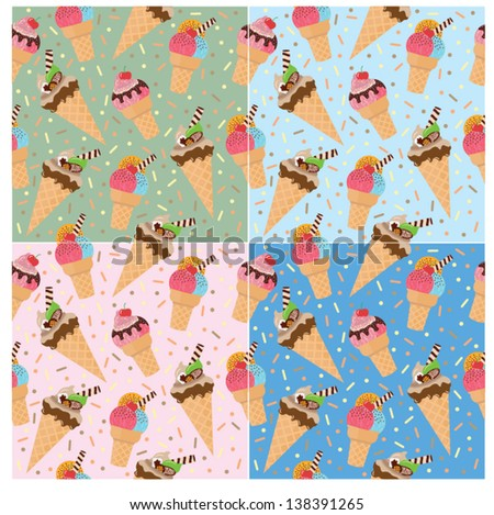 Seamless Ice Cream Pattern with different Color Background - stock vector