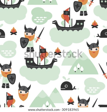 Seamless ids viking pirate ship and whale scandinavian mythical history theme illustration background pattern in vector - stock vector