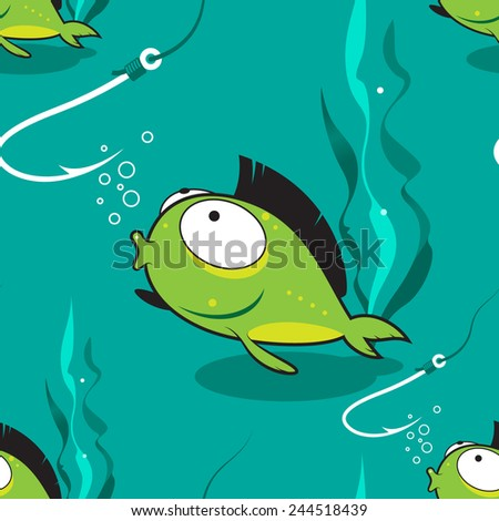 Seamless illustration. Green fish looks with surprise on a fishing hook. Can be used as a background, texture.