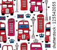 Seamless illustration London love UK double decker bus and telephone booth background pattern in vector - stock photo