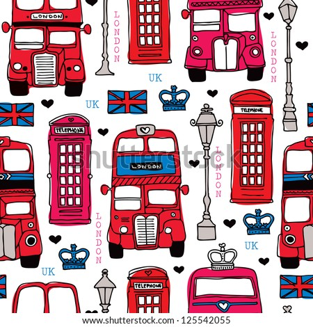 Seamless illustration London love UK double decker bus and telephone booth background pattern in vector - stock vector