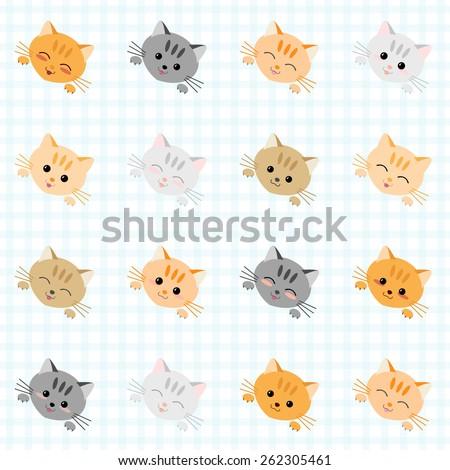Seamless illustration with cute cats. Japanese manga style. Kawaii joyful cats. Kitten background. Endless texture. Plaid backdrop pattern. Animal vector pattern. - stock vector