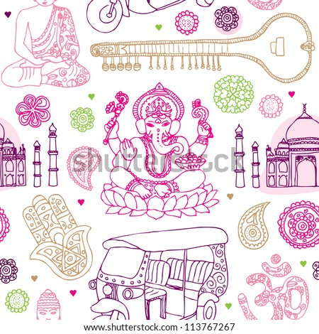 Seamless india buddha oriental travel illustration background pattern in vector