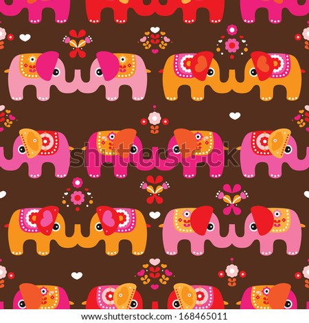 Seamless indian elephant parade illustration background pattern in vector - stock vector
