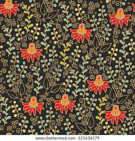 seamless indian floral pattern - stock vector