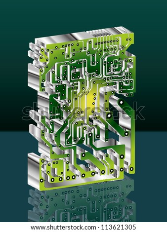 Seamless industrial background with circuit board,