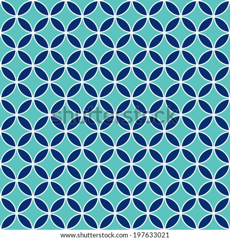 Seamless Intersecting Geometric Vintage Circle Pattern - stock vector