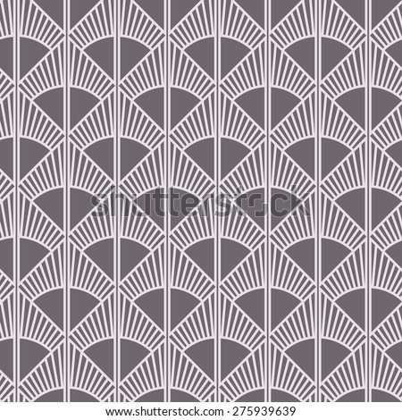 Seamless inverse black and white art deco sun rays pattern vector - stock vector