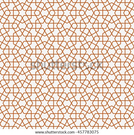 Seamless Islamic Pattern of Hexagons and Hex Stars.