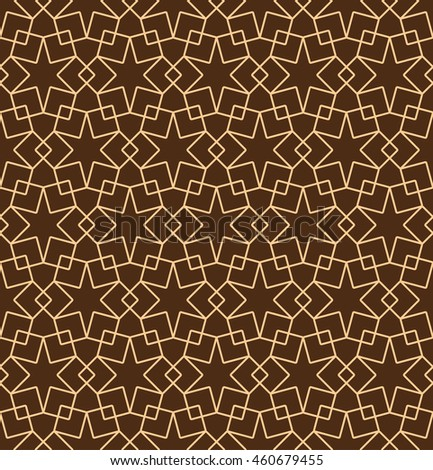 Seamless Islamic Pattern of Six Point Star , Interlocking Squares, And Shield Shapes.