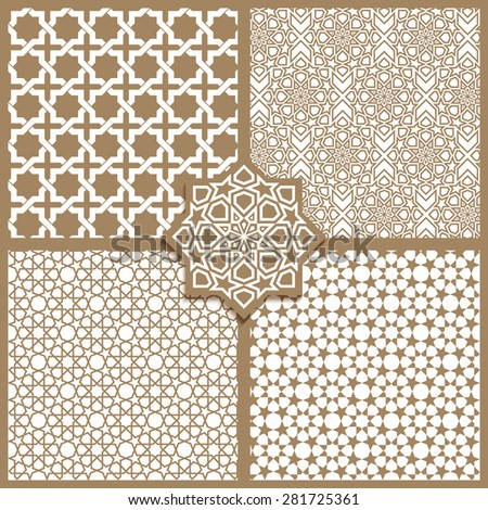 Seamless Islamic patterns set in beige color. - stock vector