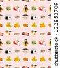 seamless Japanese food pattern,cartoon vector illustration - stock vector
