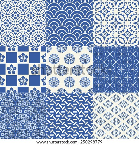 seamless japanese traditional mesh pattern - stock vector