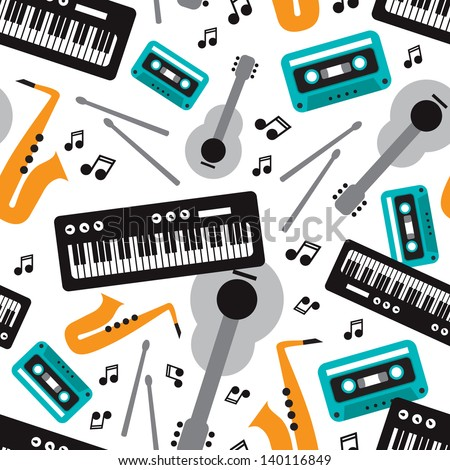 Seamless jazz music instrument illustration background pattern in vector - stock vector
