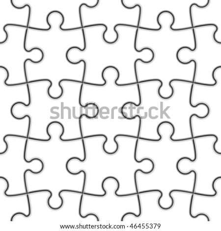"Seamless Jigsaw Puzzle. Vector. Place this pattern above a picture and make ""Multiply"" mode. Easy to duplicated. - stock vector"