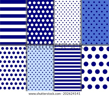Seamless jumbo and small polka dot and diagonal stripes patterns in light and dark blue and white color. For abstract wallpaper decoration or scrapbook Vector art background with lines, stars and dots - stock vector