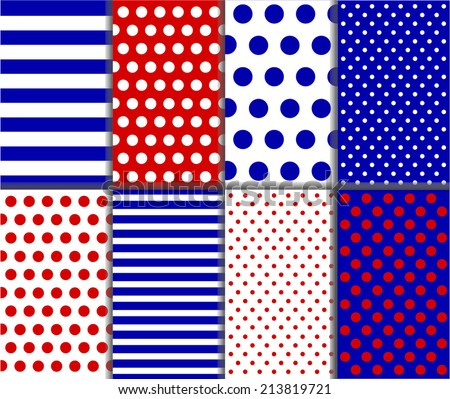 Seamless jumbo and small polka dot and stripes patterns in red, dark blue and white color. For abstract wallpaper decoration, paper pack or scrapbook. Vector art background pattern with lines and dots - stock vector