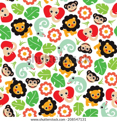 Seamless jungle animals lion lizard elephant and monkey illustration background pattern in vector - stock vector