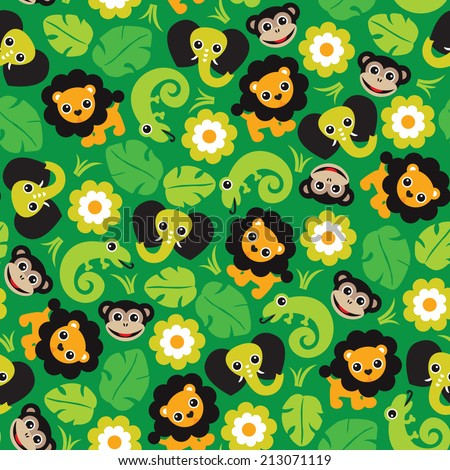 Seamless jungle paradise animals lion elephant monkey and lizard illustration background pattern in vector - stock vector