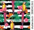 Seamless jungle pattern with parrot exotic bird, palm leaves, tropical hibiscus flower vector background. Perfect for wallpapers, pattern fills, web page backgrounds, surface textures, textile - stock vector