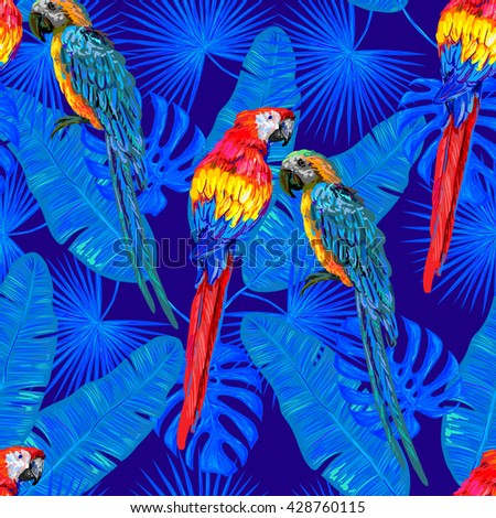 Seamless jungle tropical pattern with parrot exotic bird, palm leaves vector background perfect for wallpaper, pattern fills, web page background, surface textures, textile. Exotic pattern with parrot - stock vector
