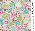 Seamless kid flower owl summer illustration pattern background in vector - stock vector