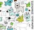 Seamless kids animal background pattern in vector - stock vector
