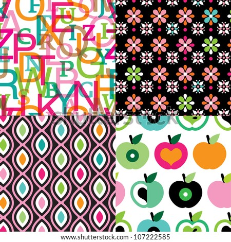 Seamless kids back to school background pattern in vector - stock vector