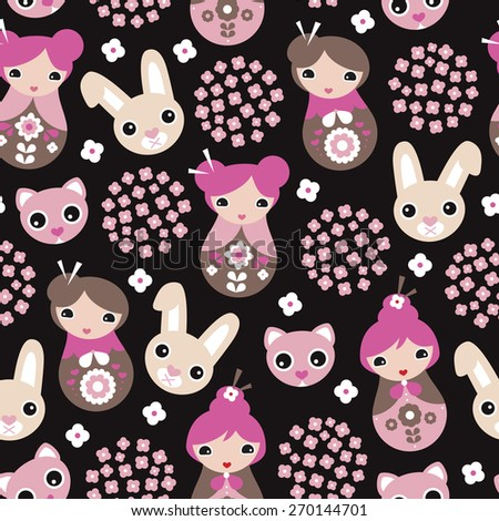 Seamless kids cherry blossom geisha girls and Japanese cat and bunny animals illustration pattern in vector - stock vector