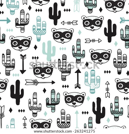 Seamless kids desert animal raccoon arrows and cactus garden illustration background pattern in vector - stock vector