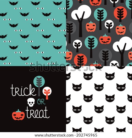 Seamless kids halloween illustration pumpkin cat background pattern and trick or treat cover design in vector - stock vector