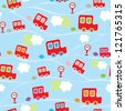 Seamless kids pattern with cars. Vector illustration - stock vector