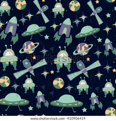Seamless kids pattern with space hand drawn symbols: UFO, flying saucer, rocket, robot, planets, stars. Pattern for boys - stock vector