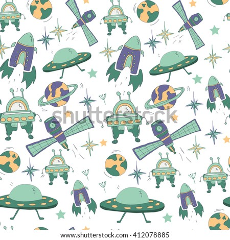 Seamless kids pattern with space hand drawn symbols: UFO, flying saucer, rocket, robot, planets, stars. Pattern for boys