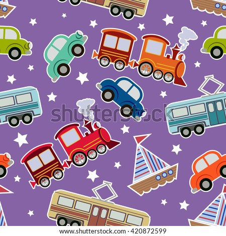 Seamless kids transport toys background. Cartoon vector illustration for boys wit tram, train, boat, cars - stock vector