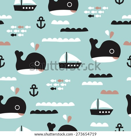Seamless kids whale ocean life and sailing boat waves illustration blue background pattern in vector - stock vector