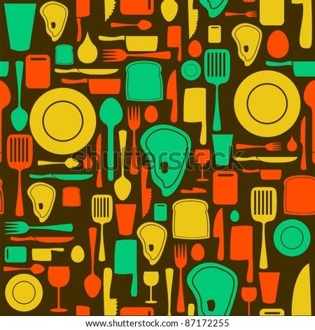 Seamless kitchen and cooking repeat pattern - 1 - stock vector
