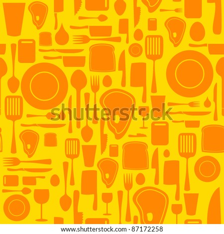 Seamless kitchen and cooking repeat pattern - 3 - stock vector