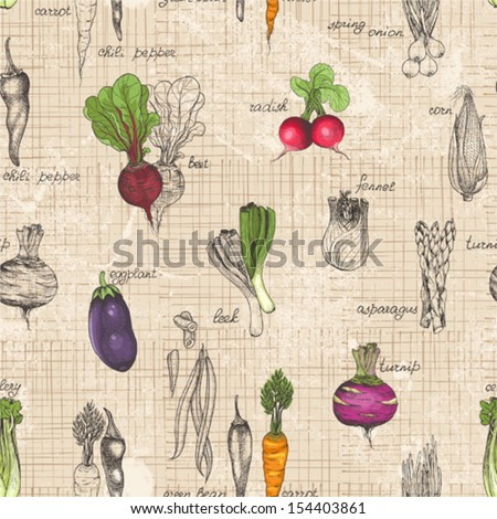 stock vector seamless kitchen background of vegetables vector illustration in vintage style 154403861 - Каталог — Фотообои «Еда, фрукты, для кухни»