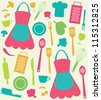 seamless kitchen pattern. vector illustration - stock photo