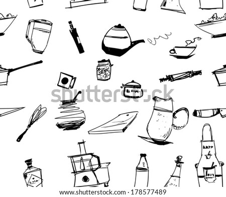 Seamless kitchen utencils ornament - stock vector