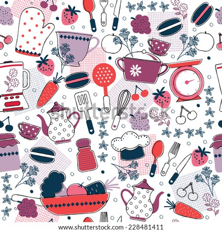 seamless kitchen wallpaper design - stock vector