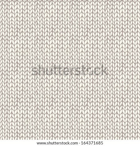 Seamless knitted hand drawn background. Neutral winter texture. Vector illustration - stock vector