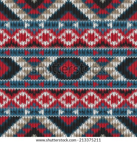 Seamless knitted navajo pattern. - stock vector