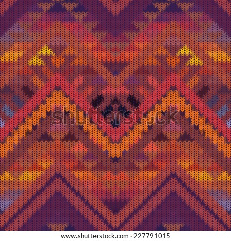 Seamless knitted navajo pattern, vector illustration. - stock vector