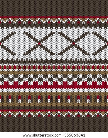 Seamless Knitted Pattern. Norwegian sweater ornaments.